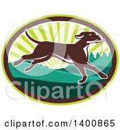 Clipart Of A Retro Brown Pointer Dog Running In A Sunrise Oval Royalty Free Vector Illustration