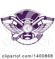 Clipart Of A Retro Crossed Spoon And Fork Over Motorcycle Handlebars And Headlamp In A Purple And White Plate Circle Royalty Free Vector Illustration by patrimonio