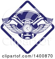 Clipart Of Retro Motorcycle Handlebars With Wings In A Blue And White Diamond Royalty Free Vector Illustration
