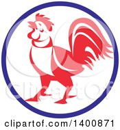 Clipart Of A Retro Crowing Rooster In A Blue White And Red Circle Royalty Free Vector Illustration