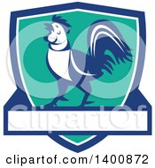 Clipart Of A Retro Crowing Rooster In A Blue White And Turquoise Shield Royalty Free Vector Illustration