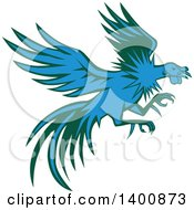 Clipart Of A Retro Blue And Green Flying And Fighting Rooster Royalty Free Vector Illustration by patrimonio