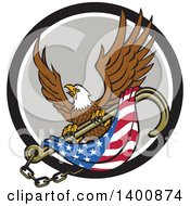 Clipart Of A Retro Bald Eagle Flying With An American Flag And Towing J Hook In A Black White And Gray Circle Royalty Free Vector Illustration
