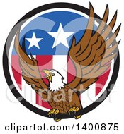 Clipart Of A Retro Bald Eagle Landing In An American Flag Circle Royalty Free Vector Illustration