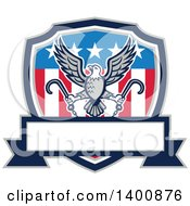 Clipart Of A Retro Bald Eagle Flying With Towing J Hooks Over An American Shield With A Blank Banner Royalty Free Vector Illustration