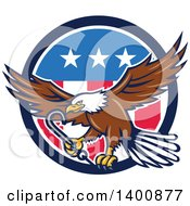 Clipart Of A Retro Bald Eagle Flying With A Towing J Hook Over An American Circle Royalty Free Vector Illustration