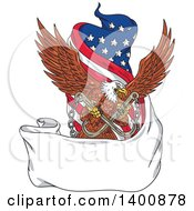 Clipart Of A Retro Bald Eagle Flying With Towing J Hooks Over A Blank Ribbon Banner And American Flag Royalty Free Vector Illustration