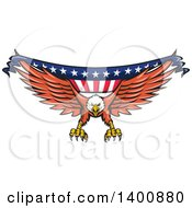 Clipart Of A Retro Bald Eagle Swooping With An American Flag Banner Royalty Free Vector Illustration by patrimonio