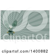 Clipart Of A Retro Swooping Green Bald Eagle And Green Rays Background Or Business Card Design Royalty Free Illustration