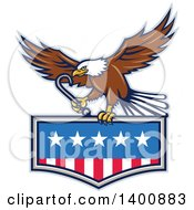 Clipart Of A Retro Bald Eagle Flying With A Towing J Hook Over An American Flag Royalty Free Vector Illustration