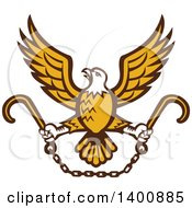 Clipart Of A Retro Bald Eagle Flying With A Chain And Towing J Hooks Royalty Free Vector Illustration by patrimonio