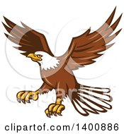 Clipart Of A Retro Bald Eagle In Flight Royalty Free Vector Illustration