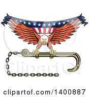 Clipart Of A Retro Bald Eagle Flying With A Towing J Hook And American Flag Banner Royalty Free Vector Illustration
