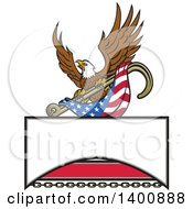 Clipart Of A Retro Bald Eagle Flying With An American Flag And Towing J Hook Over A Sign Royalty Free Vector Illustration