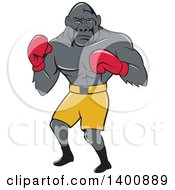 Clipart Of A Cartoon Gorilla Boxer Fighting Royalty Free Vector Illustration