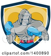 Clipart Of A Cartoon Gorilla Boxer Fighting In A Blue White And Yellow Shield Royalty Free Vector Illustration