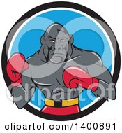 Clipart Of A Cartoon Gorilla Boxer Fighting In A Black White And Blue Circle Royalty Free Vector Illustration