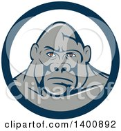 Clipart Of A Retro Gorilla Face In A Blue And White Circle Royalty Free Vector Illustration