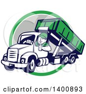 Clipart Of A Retro Male Dump Truck Driver Giving A Thumb Up Over A Green White And Gray Circle Royalty Free Vector Illustration by patrimonio