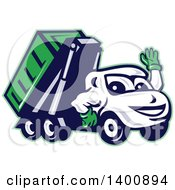 Clipart Of A Cartoon Dump Truck Mascot Waving Royalty Free Vector Illustration