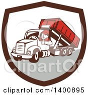 Clipart Of A Retro Male Dump Truck Driver Giving A Thumb Up In A Brown White And Gray Shield Royalty Free Vector Illustration