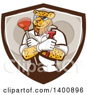 Clipart Of A Leopard Plumber Holding A Plunger And Monkey Wrench In Folded Arms Within A Brown And White Shield Royalty Free Vector Illustration by patrimonio
