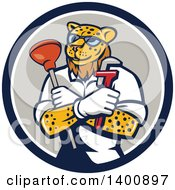 Clipart Of A Leopard Plumber Holding A Plunger And Monkey Wrench In Folded Arms Within A Blue White And Gray Circle Royalty Free Vector Illustration by patrimonio
