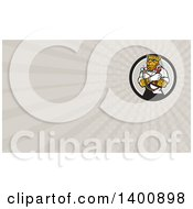 Clipart Of A Cartoon Refrigeration And Air Conditioning Mechanic Leopard Holding A Pressure Temperature Gauge And Monkey Wrench And Rays Background Or Business Card Design Royalty Free Illustration