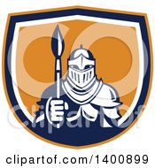 Clipart Of A Retro Knight In Full Armor Holding Paint Brush In An Orange Blue And White Shield Royalty Free Vector Illustration