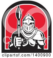 Clipart Of A Retro Knight In Full Armor Holding Paint Brush In A Black White And Red Half Circle Royalty Free Vector Illustration