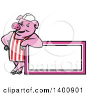 Clipart Of A Retro Cartoon Butcher Pig Leaning On A Blank Sign Royalty Free Vector Illustration by patrimonio