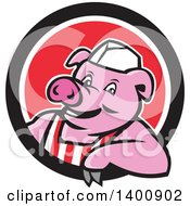 Clipart Of A Retro Cartoon Butcher Pig Leaning Out Of A Black White And Red Circle Royalty Free Vector Illustration by patrimonio