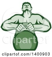 Clipart Of A Retro Muscular Male Bodybuilder Athlete Lifting A Kettlebell In Green Tones Royalty Free Vector Illustration