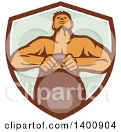 Clipart Of A Retro Muscular Male Bodybuilder Athlete Lifting A Kettlebell In A Shield Royalty Free Vector Illustration by patrimonio