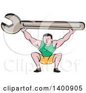 Clipart Of A Retro Cartoon White Male Mechanic Squatting And Holding Up A Giant Spanner Wrench Royalty Free Vector Illustration