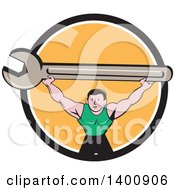 Clipart Of A Retro Cartoon White Male Mechanic Squatting And Holding Up A Giant Spanner Wrench In A Black White And Orange Circle Royalty Free Vector Illustration