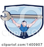Clipart Of A Retro Cartoon White Male Mechanic Squatting And Holding Up A Giant Spanner Wrench In A Blue And White Shield Royalty Free Vector Illustration