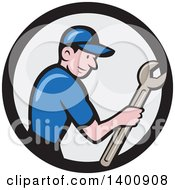 Clipart Of A Retro Cartoon White Handy Man Holding A Spanner Wrench In A Circle Royalty Free Vector Illustration