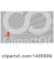 Poster, Art Print Of Retro Cartoon White Male Mechanic Holding A Tool Box And Wrench And Gray Rays Background Or Business Card Design