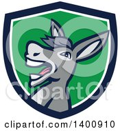 Clipart Of A Retro Hee Hawing Braying Donkey In A Blue White And Green Shield Royalty Free Vector Illustration