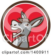 Clipart Of A Retro Hee Hawing Braying Donkey In A Brown White And Red Circle Royalty Free Vector Illustration
