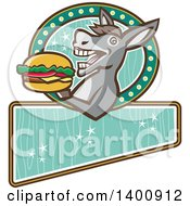 Clipart Of A Retro Donkey About To Take A Bite Out Of A Cheeseburger On A Turquoise Sign Royalty Free Vector Illustration