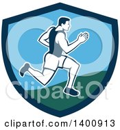 Clipart Of A Retro Male Marathon Runner Or Sprinter In A Blue And Green Shield Royalty Free Vector Illustration