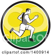 Clipart Of A Retro Male Marathon Runner Or Sprinter In A Black White Yellow And Green Circle Royalty Free Vector Illustration