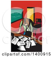 Clipart Of A Retro Woodcut Depressed Female Teacher Looking Down On A Desk With Papers Royalty Free Vector Illustration