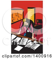 Clipart Of A Retro Woodcut Depressed Female Teacher Looking Down On A Desk With Books And Paper Royalty Free Vector Illustration