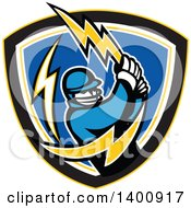 Clipart Of A Retro Cricket Batsman Swinging A Lightning Bolt In A Shield Royalty Free Vector Illustration