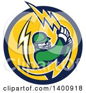 Clipart Of A Retro Cricket Batsman Swinging A Lightning Bolt In A Blue And Yellow Circle Royalty Free Vector Illustration
