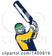 Retro Cricket Player Batsman Swinging