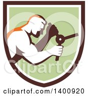Clipart Of A Retro Muscular Man Opening A Safe In A Brown White And Green Shield Royalty Free Vector Illustration